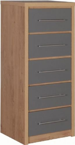 Seville 5 Drawer Narrow Chest GREY